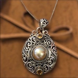 NEW!Pearl & Citrine Sterling Sil. Pendant Necklace